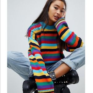 The Ragged Priest oversized sweater rainbow stripe